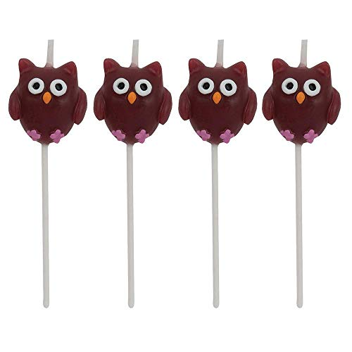 4 Minikerzen * EULEN * auf Holzhalter für Party und Geburtstag // Kerzen Eule Kuchen Torte Deko Candle Owl