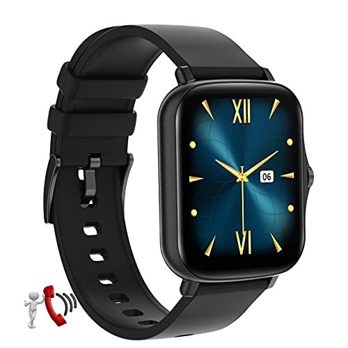 QFSLR Smartwatch, Reloj Inteligente con Llamada Bluetooth Monitor De Frecuencia Cardíaca Monitor De Sueño Control De Música para Hombres Y Mujeres Reloj Deportivo,Negro