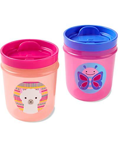 Skip Hop Vaso para niños pequeños, vasos de zoo, 2 unidades, mariposa/llama