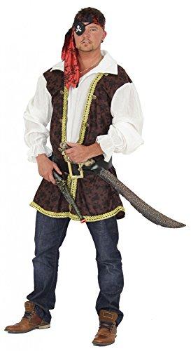Foxxeo Piraten Kostüm für Herren mit Gürtel Oberteil und Kopfband für Fasching und Karneval Größe XXL