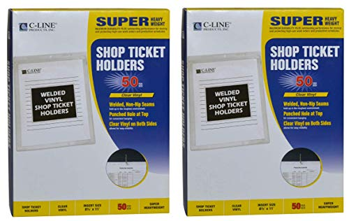 C-Line Vinyl Shop Ticket Holders, Both Sides Clear, 8.5 x 11 Inches, 50 per Box (80911) (Тwo Рack)