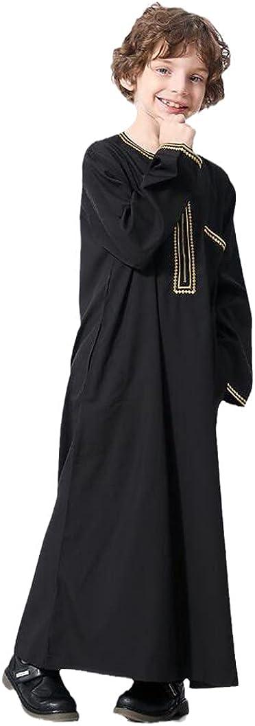 Kids Abaya Kaftan Islamic Dubai O Neck Robe Dress Arabo Muslim Long Jubba Arabic Clothes