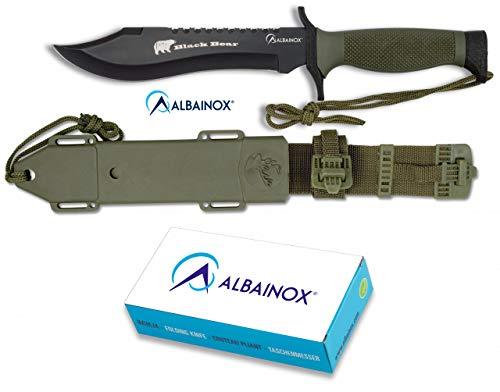 Cuchillo Supervivencia con funda incluida 18 cm para Caza, Pesca, Camping, Outdoor, Supervivencia y Bushcraft Albainox 31766 + Portabotellas de regalo