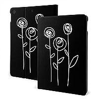 SORA 花柄 引いているシック 白黒シンプル バラ iPad Pro 10.5 ケース新型 レザー アイパッド プロ カバー 高級PUレザーケース 手帳型 全面保護 二つ折 iPad Pro 10.5 インチ (2017)