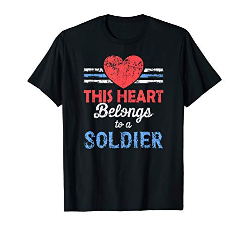 Soldiers Wife Shirt, My Heart Belongs to a Soldier Military T-Shirt