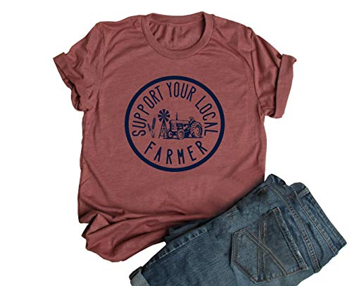 JEYMMI Womens Graphic Tee Schrute Farm Shirt Short Sleeve Solid Color Printed Summer Vacation Shirts Graphic Tees (S, Z-Heather Clay)