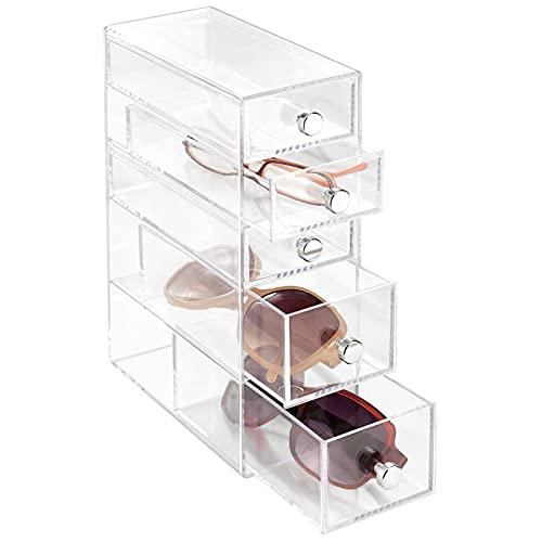 mDesign Organizador de Gafas con 4 cajones - Caja metacrilato en Color Transparente joyero u Organizador de Maquillaje