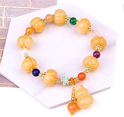 JPSOUP Natural Amarillo Dragón Jade Quartzite Pulsera Estirar Huang Long Jade Imperial Jade Golden Silk Jade Quartz Rock Calabaza Calabaza Perlas Lucky Bracelets Regalo para Mujeres/Hombres