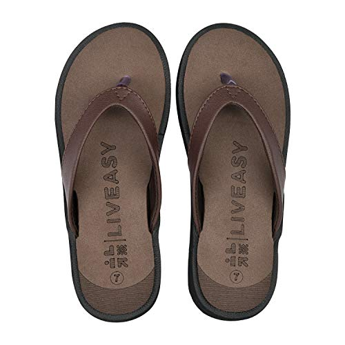 LivEasy Essentials Orthopedic Slippers with Memory Foam Women (S, Brown, numeric_5)