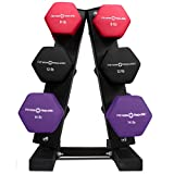 Fitness Republic Solid Steel Dumbbell Rack Holder, A-Frame Dumbbell Storage Racks, Free Weights Dumbbells Set for Home Gym Exercise, (8lb, 12, 14lb) with 3 Tier Rack