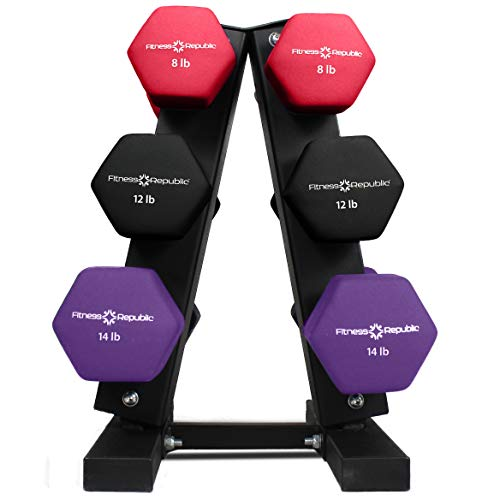 Fitness Republic Solid Steel Dumbbell Rack Holder Steel 3//5 Holder Free weights dumbbells set for home gym exercise weight tower 3//5 Tier weight racks for dumbbells A-Frame Dumbbell Storage Racks