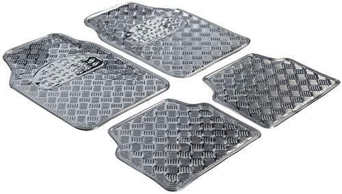 Walser Gummimatten, Universal Automatte Metallic, Fußmatten Komplettset Riffelblech, Schutzmatte Silber, zuschneidbare Schmutzfangmatte 28020