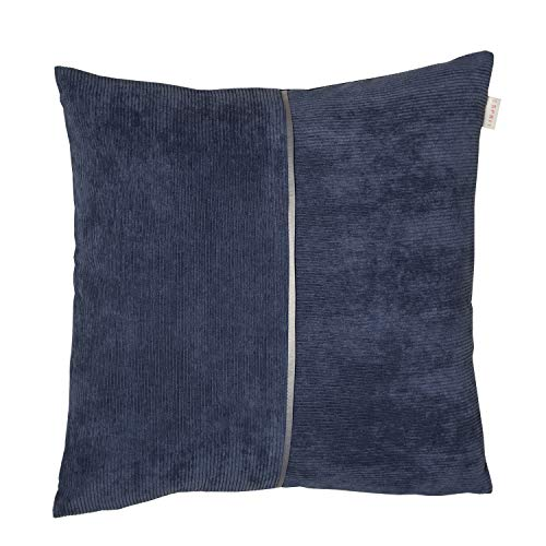 ESPRIT Cord Zierkissenhülle 2er Set blau • Kissenhülle 45x45 ohne Füllung • hochwertiger Kunstfaser Bezug • waschbarer Zierkissenbezug