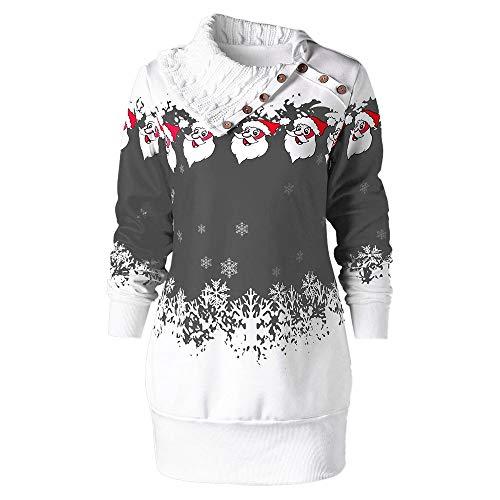 VEMOW Heißer Einzigartiges Design Mode Damen Frauen Frohe Weihnachten Schneeflocke Gedruckt Tops Cowl Neck Casual Sweatshirt Bluse(Y3-Grau, 40 DE/XL CN)