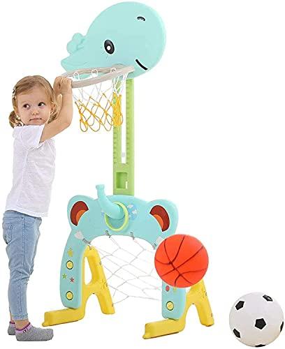 Canasta de baloncesto infantil 3 en 1, para interiores, con 1 canasta de baloncesto, 1 balón de fútbol, 4 anillas, 1 bomba, altura regulable de 60 a 120 cm