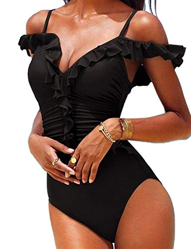 Blooming Jelly Women's Off Shoulder Ruffle One Peice Swimsuit Ruched Tummy Control High Rise Bathing Suit(S, Black)