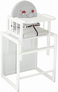 Trona Combi roba trona con bandeja transformable en silla y mesa independientes trona infantil de madera lacada en blanc...
