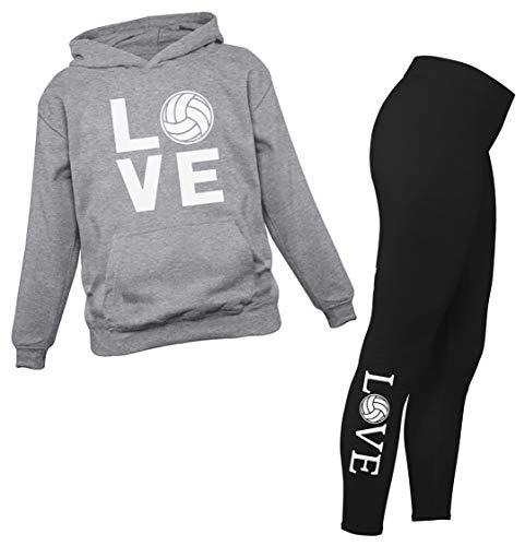 Leggings de voleibol y sudadera con capucha para mujeres, adolescentes y niñas, set de regalo para fanáticos del voleibol, Negro/gris, L