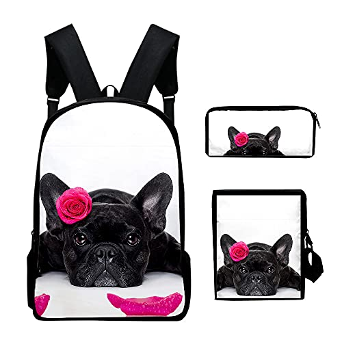 New 3D Printed French Bulldog Pencil case/Inclined shoulder bag/Laptop backpack (5)