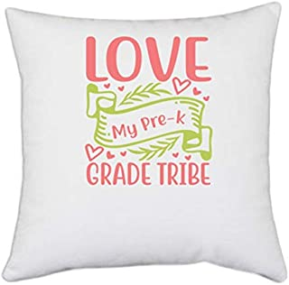 UDNAG White Polyester 'Teacher Student | Love to My pre-k Grade Tribe' Pillow Cover [16 Inch X 16 Inch]