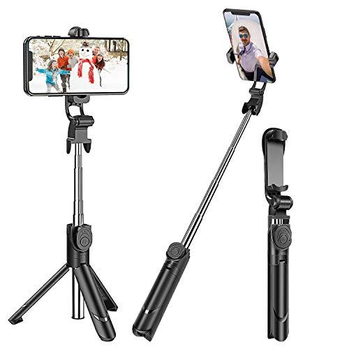 Bluetooth Selfie Stick Stativ, Beautyshow 3 in 1 Erweiterbar Monopod Selfie-Stange Stab Wireless Selfiestick mit Bluetooth-Fernauslöse 360° Rotation für iPhone Android 3,5-6 Zoll Smartphones