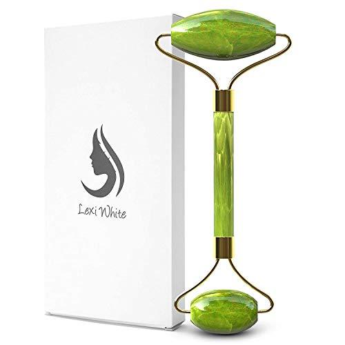 Rodillo de jade para la cara | Belleza para mejorar la apariencia de tu piel, proporcionar relajación, rutina de cuidado de masajes | Kit de piedra 100% natural para y cuello (jade verde)