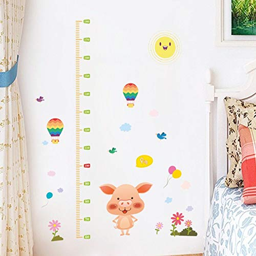 Sticker Mural Mesure De Hauteur,Cartoon Cute Pig Hot Air Balloon Stickers Pour Chambres D'Enfants Mesurer La Hauteur Hauteur Graphique De Croissance Règle D'Art Décoration Mode Accueil Autocollants