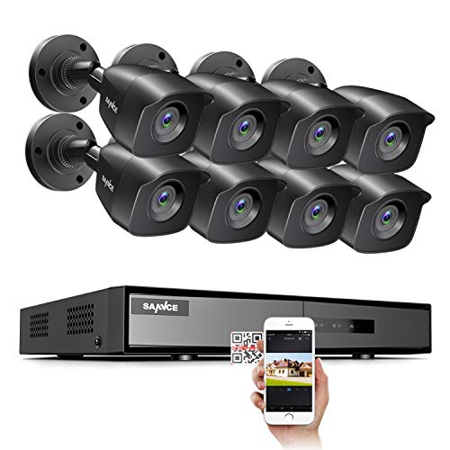 SANNCE 1080P Security Camera System 8CH H.264+ 1080N Home Surveillance DVR and (8)×1080P Weatherproof Outdoor CCTV Camera with 100ft Night Vision, Easy Remote Access , Smart Playback , NO Hard Drive