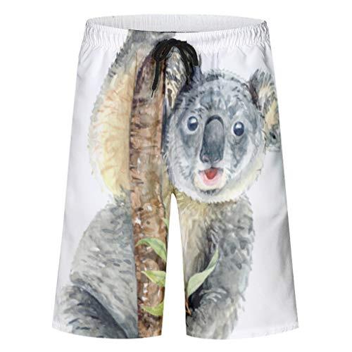 Dofeely Herren Jungen Koala Theme Badeshorts Boardshorts Classics Sommer Slim Fit Freizeit Wassersport Kurz für Männer Badehose Trainingshose Badeanzüge White l