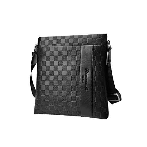 Flow.month Herren Business Leder Umhängetasche - Classic Plaid Bag - Casual Ipad Crossbody-Tasche - Einkaufstasche - Reisetasche, Verstellbarer Schultergurt, für Reisen/Büro/Trekking