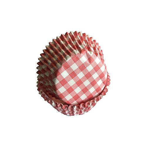 Lot de 50 caissettes à muffins en papier à carreaux Rouge/blanc