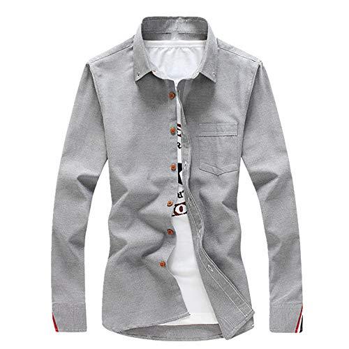 N\P - Camicia da uomo a maniche lunghe per primavera e estate, con strisce grigio. XL