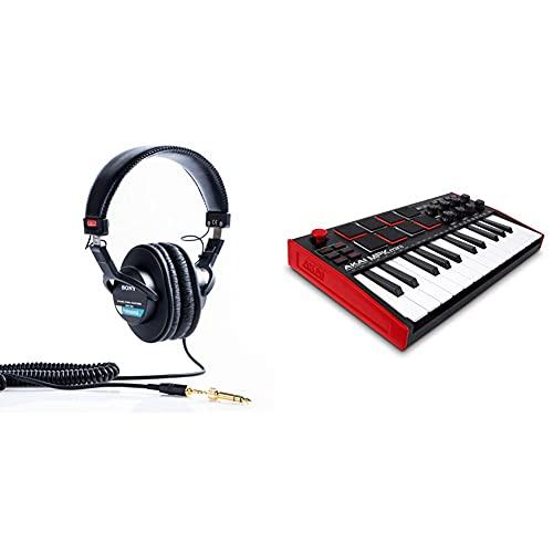 Sony Mdr-7506 Auriculares De Diadema Cerrados, Negro + Akai Professional Mpk Mini Mk3 Teclado Controlador Midi USB De 25 Teclas con 8 Drum Pads