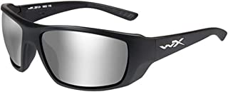 WileyX KOBE Sunglasses, Grey Silver Flash Lenses, Wraparound Shape Offered in MATTE BLACK color from Eyeweb