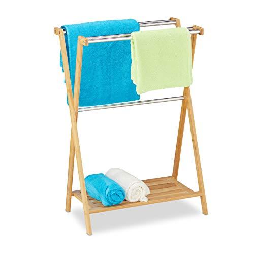 Relaxdays Toallero de pie, 5 Barras, bambú, Acero Inoxidable, toallero con Estante, 87 x 58,5 x 36 cm, Natural, 10032186