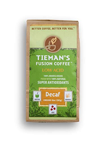 Tieman's Fusion Coffee, Low Acid Decaf, Semi-Dark Roast, Ground, 10-Ounce bag