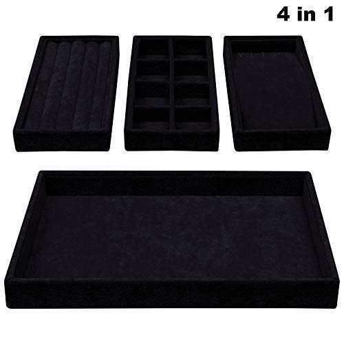 BELLE VOUS Schmucktablett - 4 in 1 Stapelbares Schmuckdisplay aus Samt Enthält 3 herausnehmbare Tabletts mit 8 Fächern für Ohrring, Ring, Halskette und Armband (Schwarz)