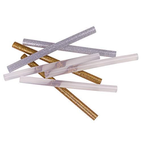 28er-Set Klebesticks für die Heißklebepistole, Heißkleber zum Basteln, Dekorieren und Reparieren, Heißklebestifte Gold-/Silber glitzernd + transparent, 28Stk. - Ø7mm x 140mm