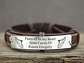 Personalized Memorial Jewelry, Forever in my Heart Bracelet, Angel Wing Leather Cuff, In Memory of Dad, Loss of Child/Mom/Sister/Brother/Grandpa/Grandma/Loved One