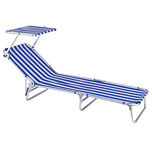 Tumbona Playa Cama con Parasol de 3 Posiciones de Aluminio y