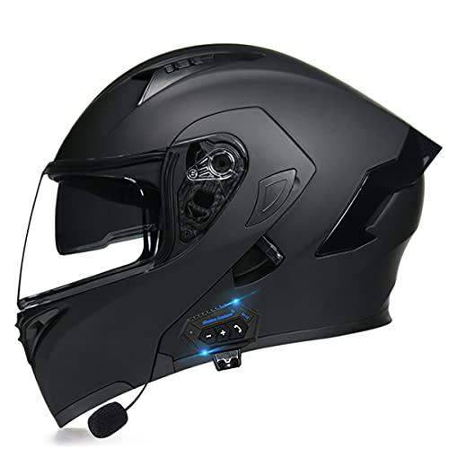 YALIXING Casco de Moto Modular Bluetooth con HD Doble Visera Cascos de Motocicleta Prueba de Viento Cascos integrales ECE Homologado para Adultos Hombres Mujeres(Size:XL (61-62CM),Color:A)