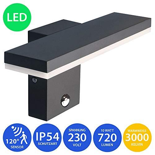 MODERNE LED Außenwandleuchte mit Bewegungsmelder Wandleuchte 10W warmweiß schwarz Wandlampe Wandleuchte Außenlampe Lampe 17601
