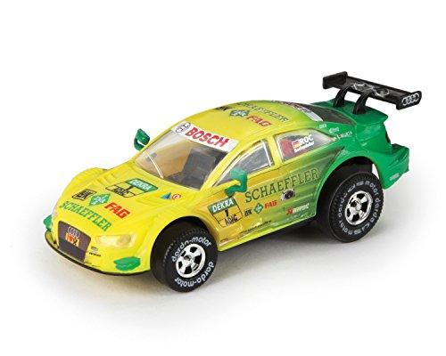 Darda 50383 Auto Audi RS 5 DTM Rockenfeller, Rennauto mit auswechselbaren Rückzugsmotor, Fahrzeug mit Aufziehmotor, Rückziehauto für Rennbahnen, für Kinder ab 5 Jahre, ca. 8 cm, gelb-grün