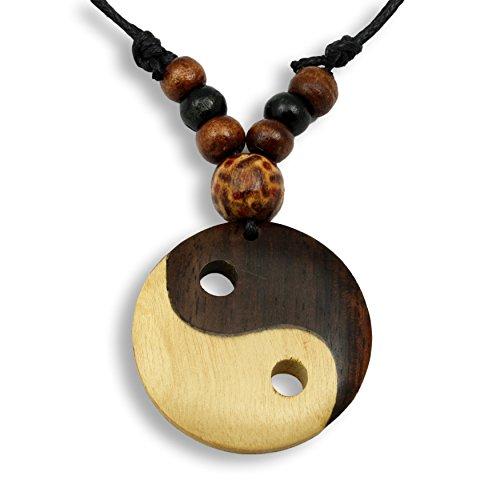 ISLAND PIERCINGS Halskette Anhänger aus Holz Ying Yang Handarbeit längenverstellbar N285