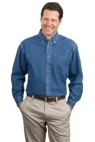 Port Authority® Heavyweight Denim Shirt. S100 Dark Blue Stonewashed 2XL