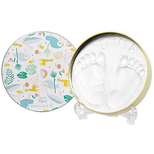 Baby Art - Geschenkbox aus Metall, Rund, besondere Geschenke Box mit Gipsabdruck zum Selbermachen für Baby Fußabdruck oder Handabdruck, Limited Edition Toucans