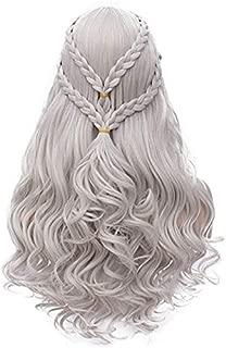 Mersi Khaleesi Wig Daenerys Targaryen Cosplay Wigs Long Silver Braided Party Hair Wigs for Halloween Cosplay (Silver) S039S