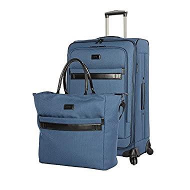Nicole Miller New York Coralie Collection 2-Piece Luggage Set: 20  Expandable Spinner and Tote Bag (Blue)