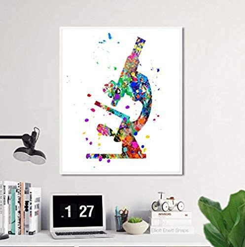 DSJHK Microscope Poster, Microscope Watercolor Art Canvas Painting Prints Picture, for Scientist Gifts Microbiology Office Wall Art Decor 40 X 50Cm