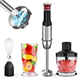 Hand Blender, ZUUKOO KITCHEN 800W 4-in-1 Multi-Purpose Immersion Blender Handheld, Stepless Speed Stick Blender with Chopper, Beaker, Whisk Attachments, for Soup/Soap Making/Baby Food/Sauces